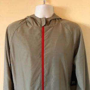 Gray Windbreaker with Red Zipper